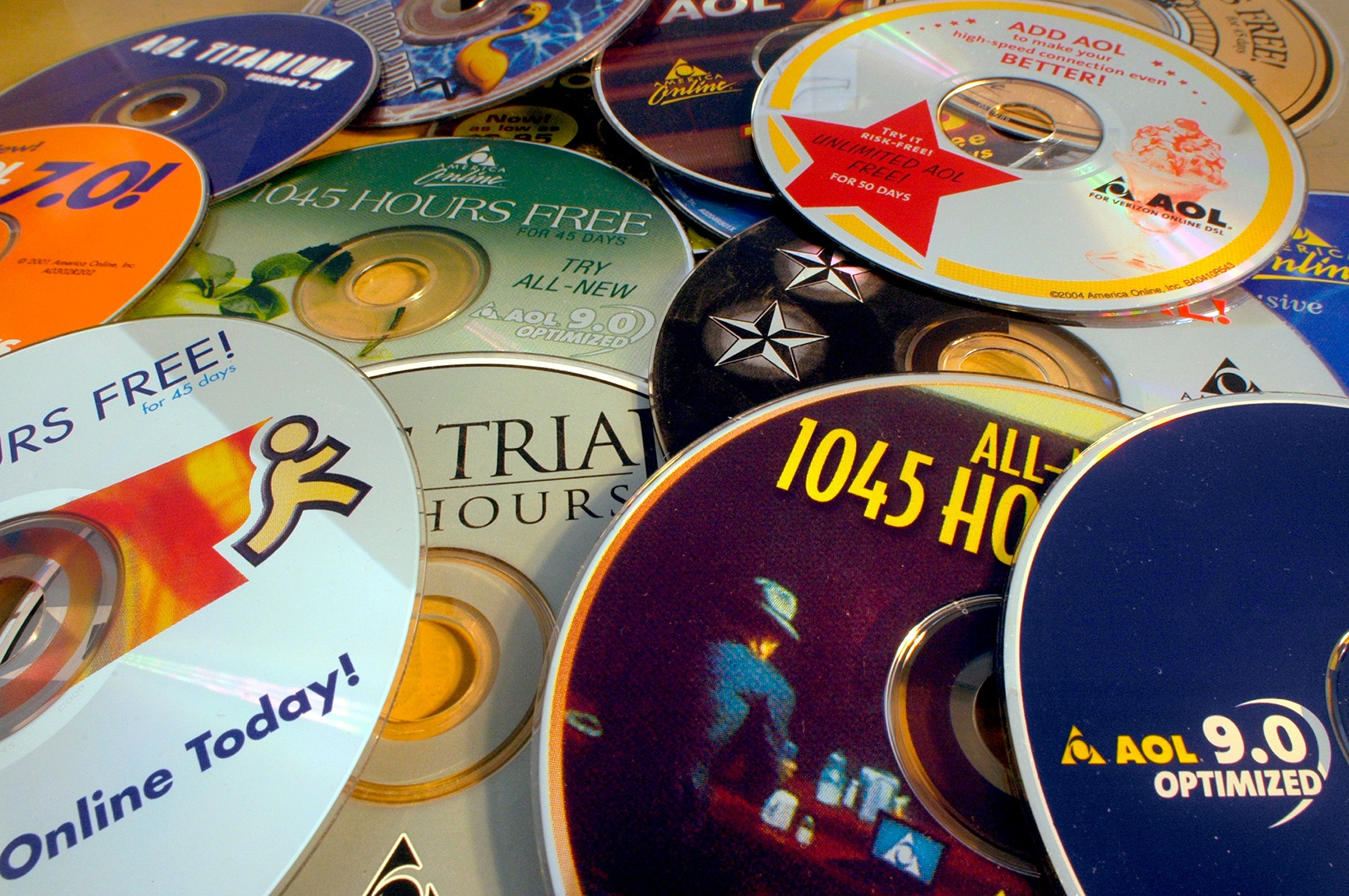 A collection of AOL cd roms